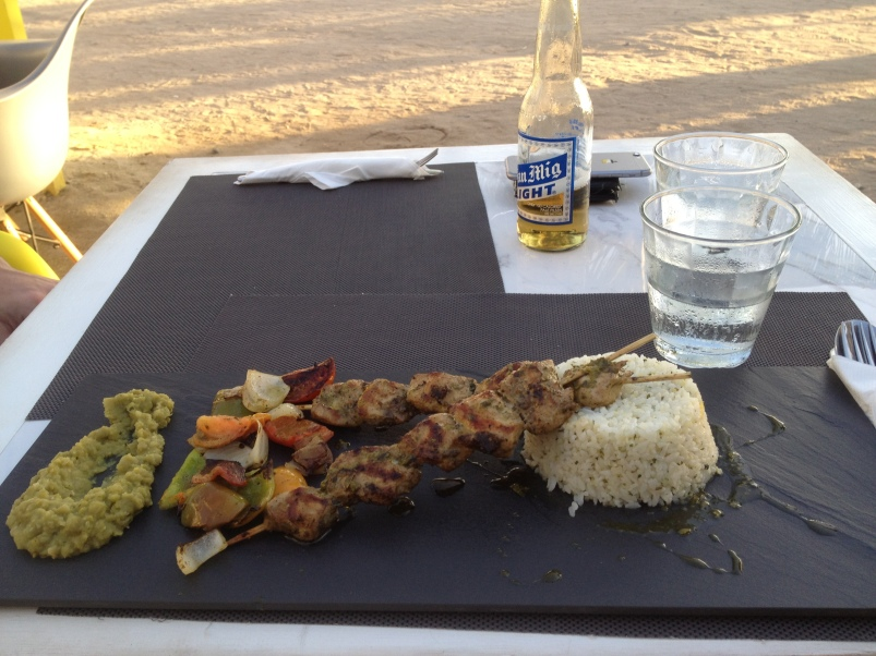 My favourite dish from The Sunny Side Cafe: the chimichurri chicken, cilantro rice, grilled veggies, and mint pea puree