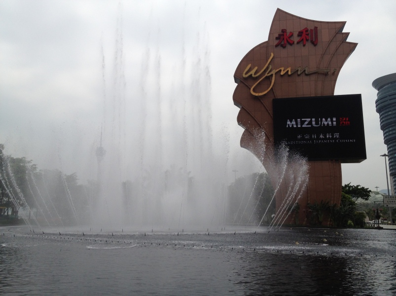The Wynn fountains, which perform synchronized water and music shows every fifteen minutes