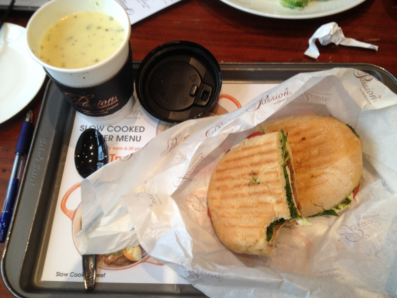 Grilled panini and corn chowder for lunch