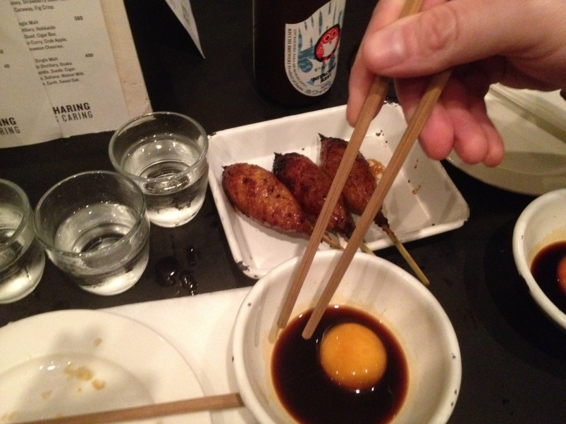 The little chicken skewers came with a little bowl soy sauce and egg yolk that we mixed with our chop sticks and then dipped.
