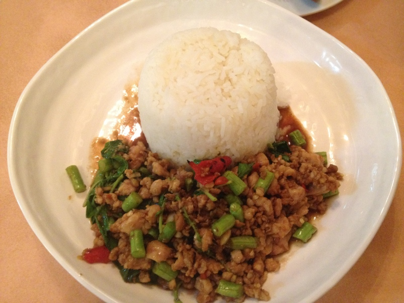 This was a great dish from The Spice House with pork, beans and rice.  We avoided the spicy red pieces!