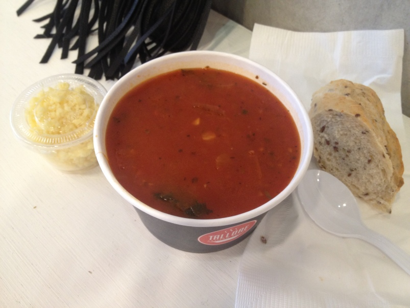 The tomato and red pepper soup, one of the standing items on the menu.