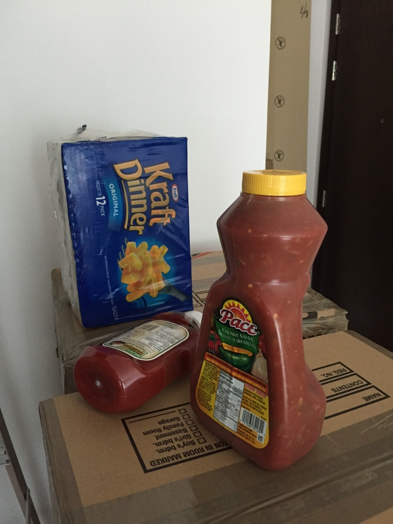 Canadian staples: Kraft Dinner, Heinz ketchup and (less Canadian but hard to find in Hong Kong) salsa!