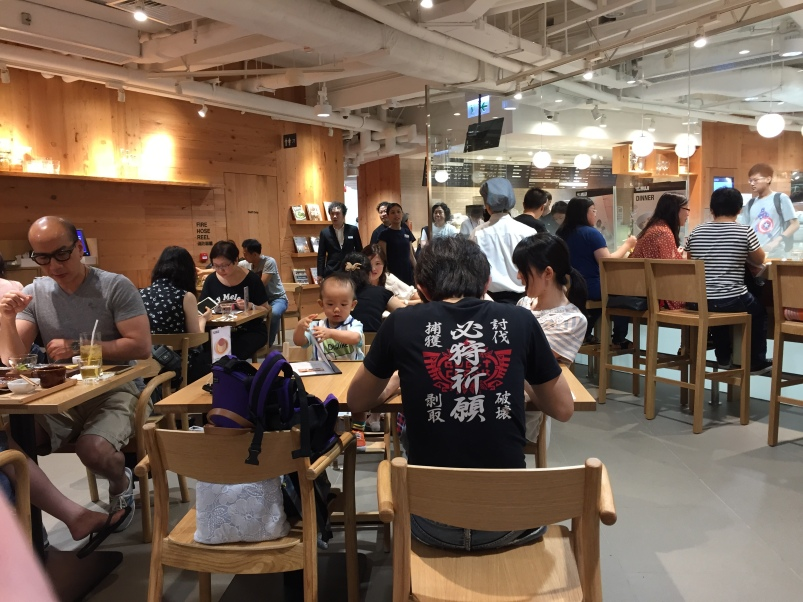 Inside the cafe, which is at the back of the Muji shop.