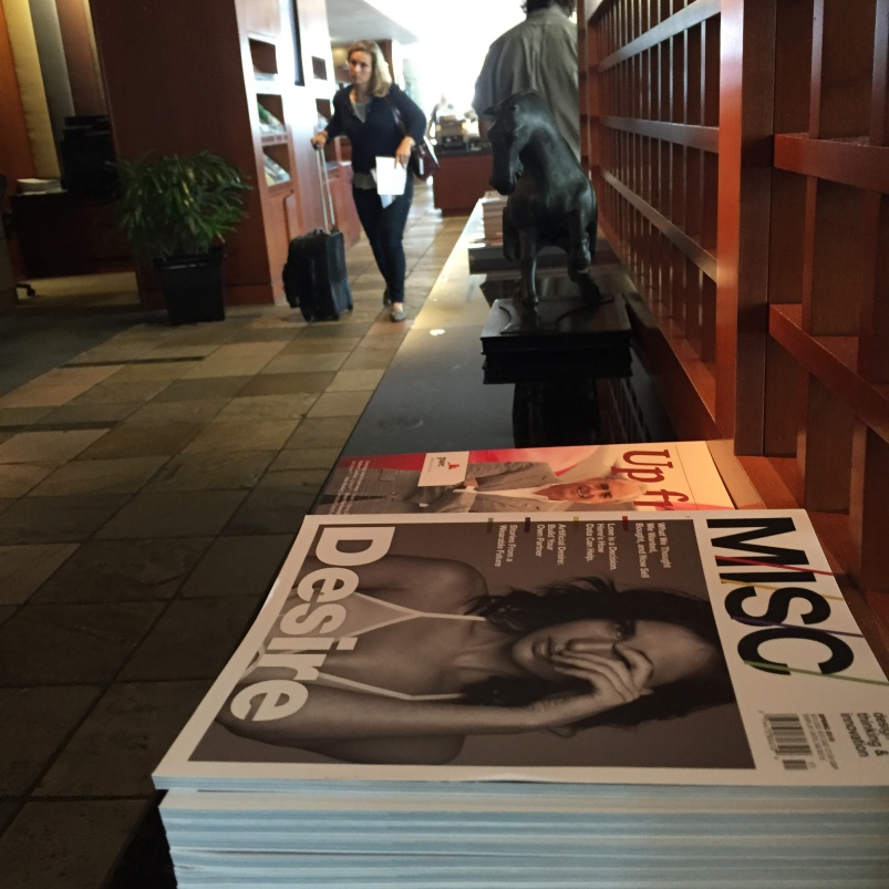 There were at least a dozen different magazines available to read / take. About 1/3 were in French.