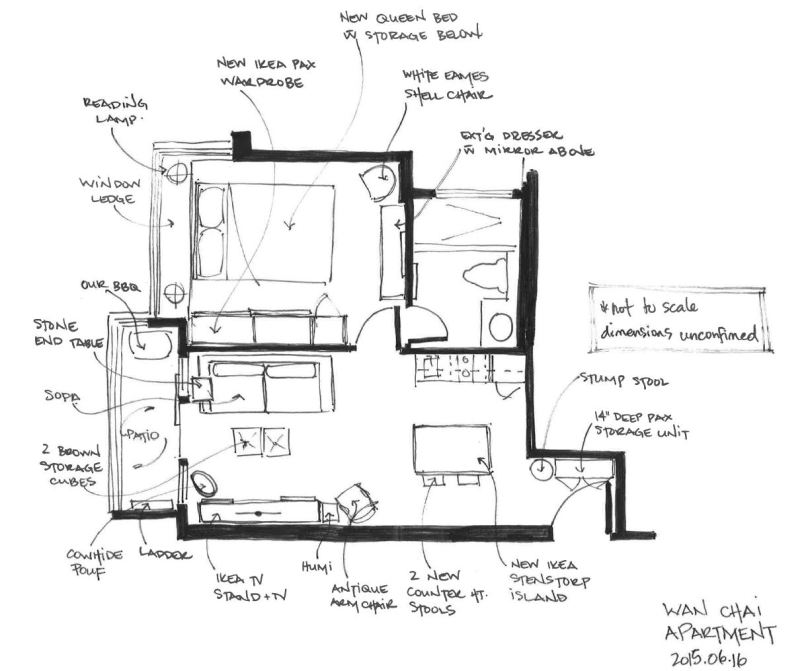 Final layout of our cozy little space. Overall, it worked out fairly close to what we planned.