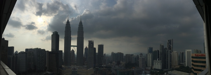 Panorama view of the Petronas Towers.