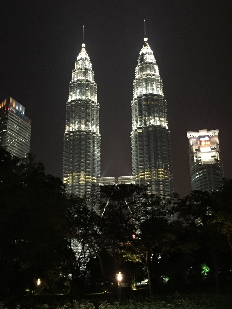 The towers are stunning at night.
