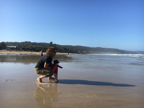 Campbell and I wet our toes on the coast.
