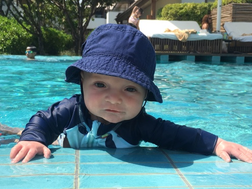 Campbell taking on the pool like a champ.