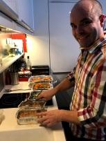 Braden serving up side dishes!