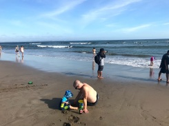 We made dozens of trips with buckets of water back to Campbell's station in the sand.